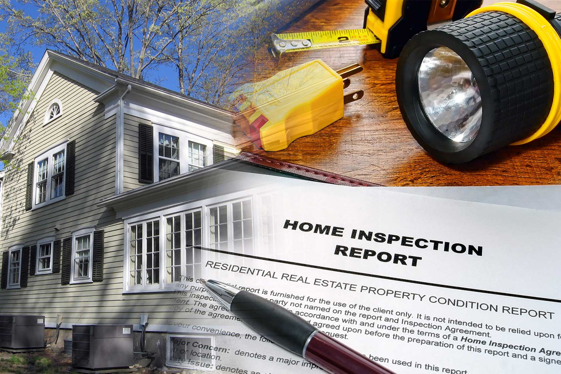 home inspection report, inspection tools, and home