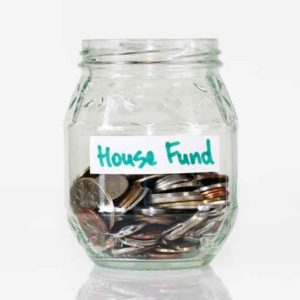 house fund jar with coins